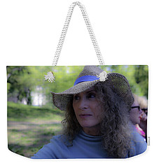 Weekender Tote Bag featuring the photograph Woman In Blue by Madeline Ellis