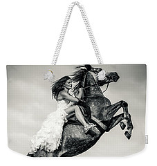 Weekender Tote Bag featuring the photograph Woman In Dress Riding Chestnut Black Rearing Stallion by Dimitar Hristov
