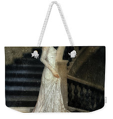 Woman In Lace Gown On Staircase Weekender Tote Bag by Jill Battaglia