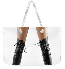 Woman Legs In Black Sexy Thigh High Stiletto Boots Weekender Tote Bag