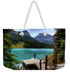 Woman Looking Emerald Lake Yoho National Park British Columbia Canada Weekender Tote Bag