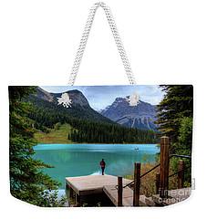 Woman Looking Emerald Lake Yoho National Park British Columbia Canada Weekender Tote Bag