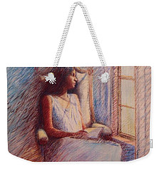 Woman Reading By Window Weekender Tote Bag