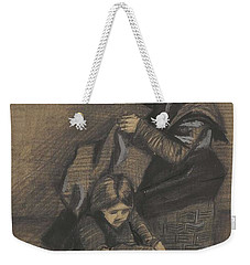 Weekender Tote Bag featuring the painting Woman Sewing, With A Girl The Hague, March 1883 Vincent Van Gogh 1853 - 1890 by Artistic Panda