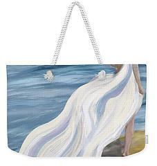 Woman Strolling On The Beach Weekender Tote Bag