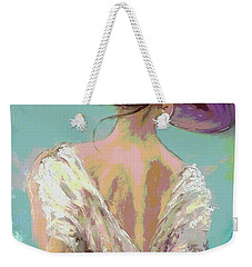 Woman Wearing A Purple Hat Weekender Tote Bag