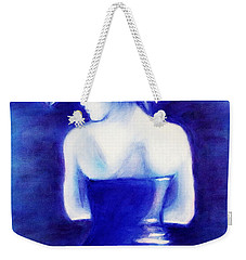 Woman With An Umbrella Blue Weekender Tote Bag