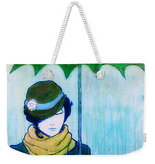 Woman With Green Umbrella Weekender Tote Bag
