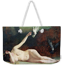 Woman With Pigeons Weekender Tote Bag