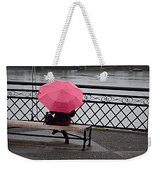 Woman With Pink Umbrella. Weekender Tote Bag