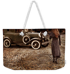 Woman With Umbrella By Vintage Car Weekender Tote Bag