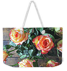 Wood And Roses Weekender Tote Bag by Shadia Derbyshire