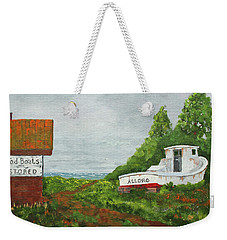 Weekender Tote Bag featuring the painting Wood Boat Works by Jack G Brauer