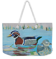 Wood Duck Pair Weekender Tote Bag