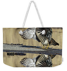 Weekender Tote Bag featuring the photograph Wood Duck Reflection by Mircea Costina Photography