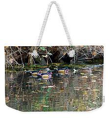 Wood Ducks In Autumn Weekender Tote Bag by Sean Griffin