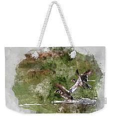 Wood Ducks In Flight Weekender Tote Bag