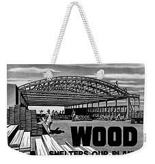 Weekender Tote Bag featuring the painting Wood Shelters Our Planes - Ww2 by War Is Hell Store