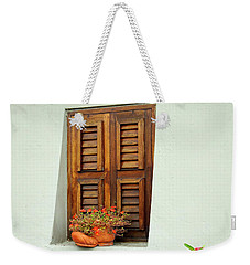 Weekender Tote Bag featuring the photograph Wood Shuttered Window, Island Of Curacao by Kurt Van Wagner