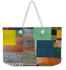 Wood With Teal And Yellow Weekender Tote Bag by Michelle Calkins