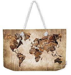 Wood World Map Weekender Tote Bag