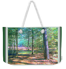 Weekender Tote Bag featuring the photograph Wooded Path With Borders by Shirley Moravec