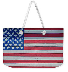 Weekender Tote Bag featuring the photograph Wooden American Flag by Bill Cannon