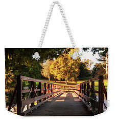 Weekender Tote Bag featuring the photograph Wooden Bridge On The Rye Water - Maynooth, Ireland by Barry O Carroll