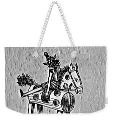 Weekender Tote Bag featuring the digital art Wooden Horse by Pennie McCracken