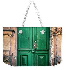 Wooden Ornamented Gate In Green Color Weekender Tote Bag by Jaroslaw Blaminsky