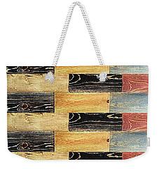 Woodgrain Art Abstract Golds Black Blues Weekender Tote Bag by Scott D Van Osdol
