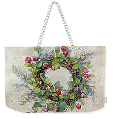 Woodland Berry Wreath Weekender Tote Bag by Colleen Taylor