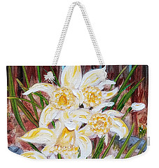 Weekender Tote Bag featuring the painting Woodland Daffodils by Judith Rhue