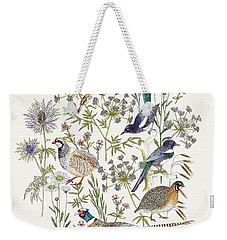 Woodland Edge Birds Placement Weekender Tote Bag by Jacqueline Colley