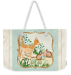 Woodland Fairy Tale - Deer Fawn Baby Bunny Rabbits In Forest Weekender Tote Bag by Audrey Jeanne Roberts