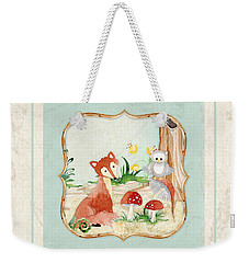 Woodland Fairy Tale - Fox Owl Mushroom Forest Weekender Tote Bag by Audrey Jeanne Roberts