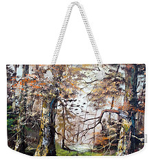 Weekender Tote Bag featuring the painting Woodland Pond  by Lee Piper