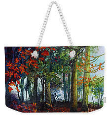 Weekender Tote Bag featuring the painting Woodland Trail by Hailey E Herrera
