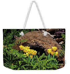 Weekender Tote Bag featuring the photograph Woodland Tulip Garden by Tom Mc Nemar