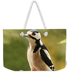 Woodpecker In Winter Weekender Tote Bag