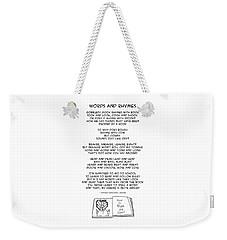 Weekender Tote Bag featuring the drawing Words And Rhymes by John Haldane