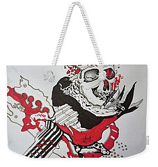 Weekender Tote Bag featuring the drawing World Down-side-up by Kevin F Heuman