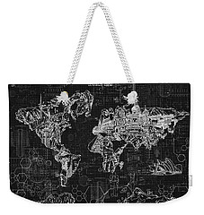 World Map Blueprint 2 Weekender Tote Bag by Bekim Art