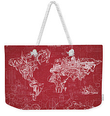 World Map Blueprint 3 Weekender Tote Bag by Bekim Art