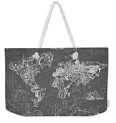 World Map Blueprint 5 Weekender Tote Bag by Bekim Art