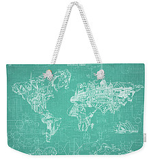 World Map Blueprint 7 Weekender Tote Bag by Bekim Art