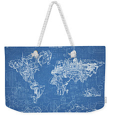 World Map Blueprint Weekender Tote Bag by Bekim Art