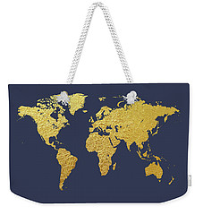 World Map Gold Foil Weekender Tote Bag