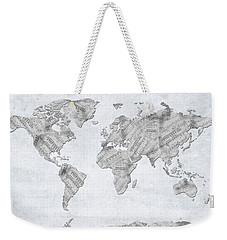Weekender Tote Bag featuring the digital art World Map Music 10 by Bekim Art