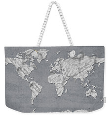 Weekender Tote Bag featuring the digital art World Map Music 11 by Bekim Art